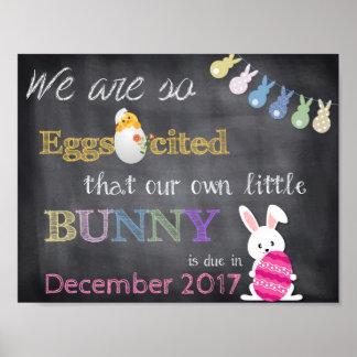 Eggscitedイースターの妊娠は発表を明らかにします ポスター