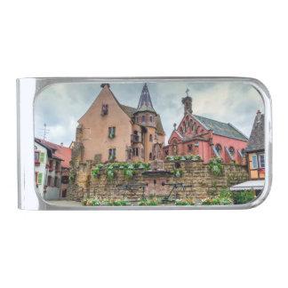 Eguisheim、アルザス、フランスの聖者レオンの噴水 シルバー マネークリップ