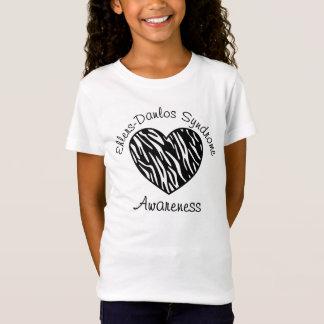 Ehlers Danlosシンドロームの認識度のシマウマのハートのワイシャツ Tシャツ