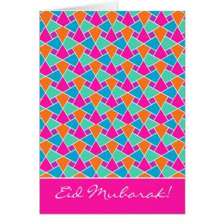Eidカラフルなカード、明るいイスラム教パターン グリーティングカード
