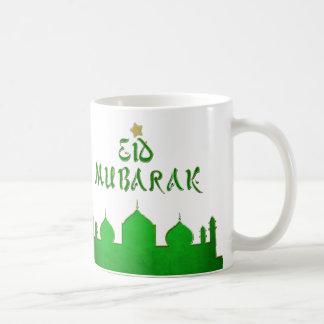Eidムバラクの緑金ゴールドのモスク-マグ コーヒーマグカップ