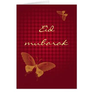 Eidムバラク- butterly赤の挨拶状 カード