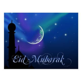 Eid魔法の夜-イスラム教の挨拶の郵便はがき ポストカード