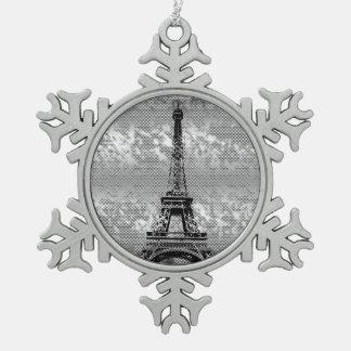 Eifelタワー-パリによって雪片曇らされる効果 スノーフレークピューターオーナメント