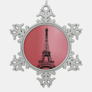 Eifelタワー-パリの雪片 スノーフレークピューターオーナメント