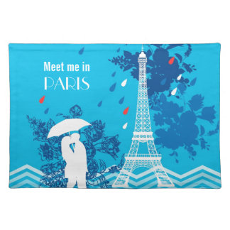 Eiffleタワーが付いているパリのカップル ランチョンマット