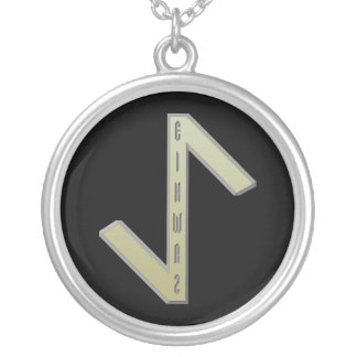 EihwazのRuneの金ゴールド シルバープレートネックレス