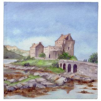 Eilean Donanの城の水彩画の絵画 ナプキンクロス