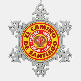 El Camino Deサンティアゴ スノーフレークピューターオーナメント