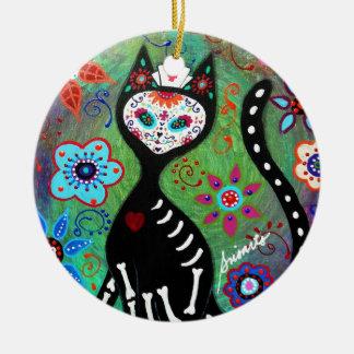 EL GATO CAT DIA DE LOS MUERTOS NURSEの絵画 セラミックオーナメント