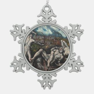 El GrecoによるLaocoon スノーフレークピューターオーナメント