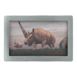 Elasmotheriumの哺乳類の恐竜- 3Dは描写します 長方形ベルトバックル