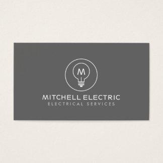 ELECTRICANSのための灰色の電球のモノグラムのロゴ 名刺