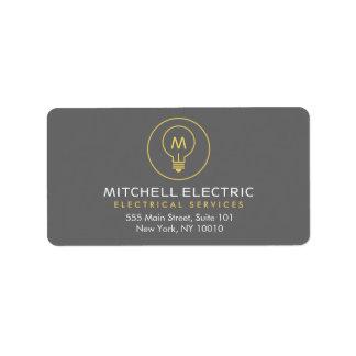 ELECTRICANSのための電球のモノグラムのロゴ 宛名ラベル