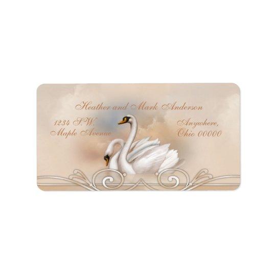 Eleganの白い白鳥の結婚式の差出人住所ラベル 宛名ラベル