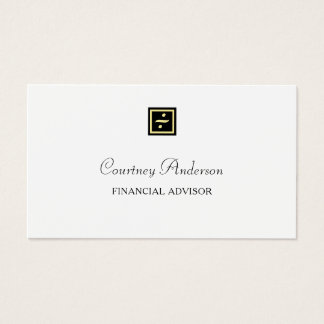 Elegant Black Gold Division Logo Financial Advisor 名刺