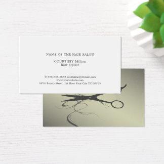 Elegant Black Scissors Faux Metal Hair Stylist 名刺