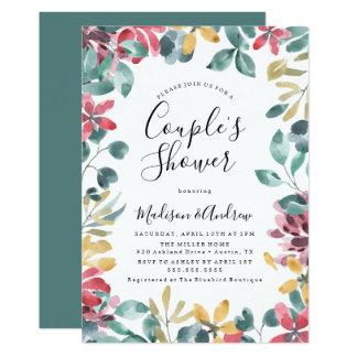 Elegant Blossoms Floral Couple's Shower Invitation カード