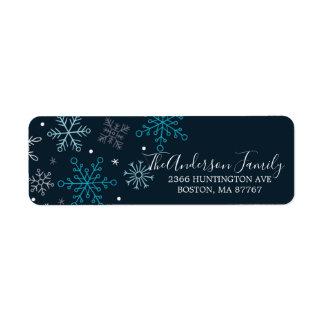 Elegant Blue Snowflakes Christmas Address Label ラベル