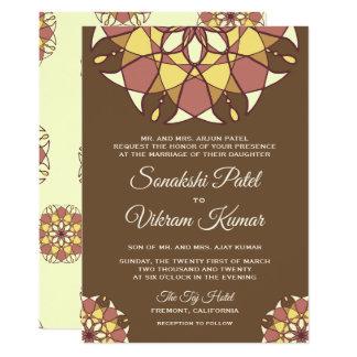 Elegant Brown Mandala Indian Wedding Invitation カード