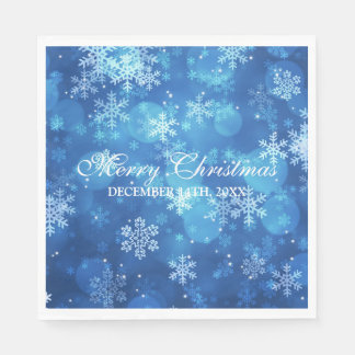 Elegant Christmas Holiday Sparkle Blue スタンダードランチョンナプキン