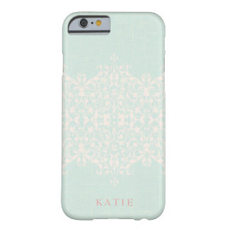 Elegant Country Mint & Peach Monogram Barely There iPhone 6 ケース