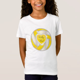 Elegant Diamond Heart Bright Yellow Volleyball Tシャツ