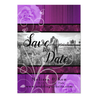 Elegant floral plum & black wedding save the date カード