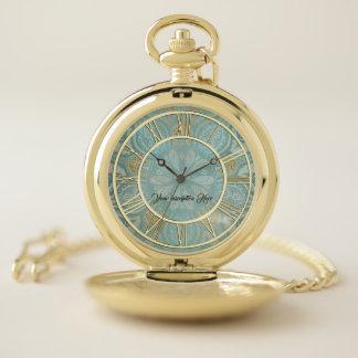Elegant Gold Aqua Personalized Pocket Watch ポケットウォッチ