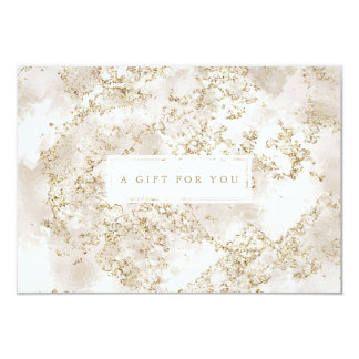 Elegant Gold Glitter Marble Gift Certificate Card 8.9 X 12.7 インビテーションカード