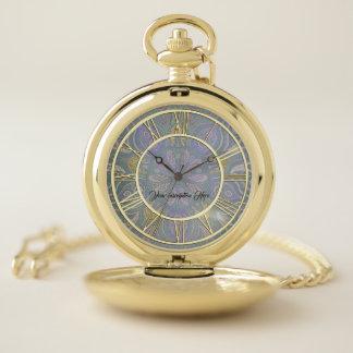 Elegant Gold Lavender Mandala Pocket Watch ポケットウォッチ