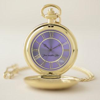 Elegant Gold Lavender Purple Pocket Watch ポケットウォッチ