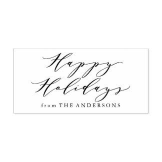 Elegant Happy Holidays | Return Address Stamp ラバースタンプ
