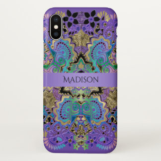 Elegant Lace Mandala Purple Gold iPhone X Case iPhone X ケース