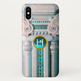 ELEGANT MARBLE COLUMN,PINK BLUE GEM STONE MONOGRAM iPhone X ケース