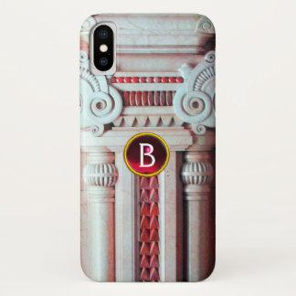 ELEGANT MARBLE COLUMN,PINK RED GEM STONE MONOGRAM iPhone X ケース