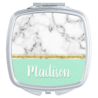Elegant Mint Marble and Gold Custom Name