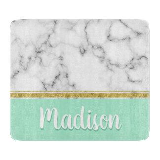 Elegant Mint Marble and Gold Custom Name カッティングボード
