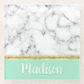 Elegant Mint Marble and Gold Custom Name ガラスコースター
