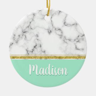 Elegant Mint Marble and Gold Custom Name セラミックオーナメント