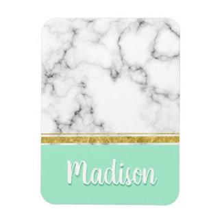 Elegant Mint Marble and Gold Custom Name マグネット