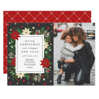 Elegant Mistletoe & Poinsettia Christmas Photo 12.7 X 17.8 インビテーションカード