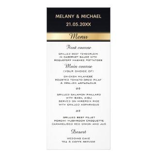 Elegant modern black  white and gold wedding menu ラックカード