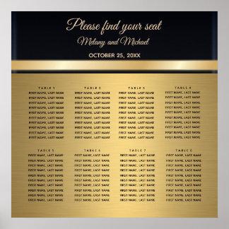 Elegant modern gold/black wedding Seating Chart ポスター