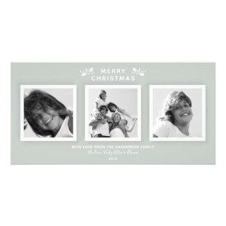 Elegant Modern Gray Green 3 Photo Merry Christmas カード