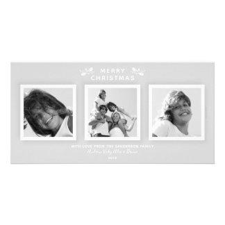 Elegant Modern Pale Gray 3 Photo Merry Christmas カード