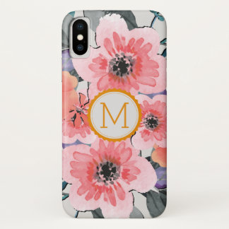 Elegant Monogram Vintage Floral #31 iPhone X ケース