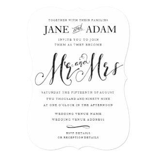 Elegant Mr & Mrs Typography Wedding Invitation 12.7 X 17.8 インビテーションカード