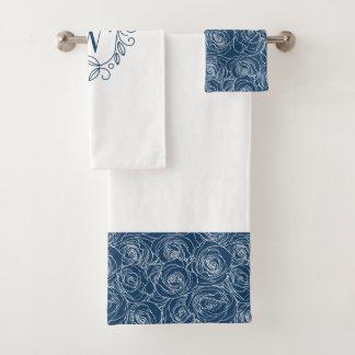 Elegant Navy Floral Monogram バスタオルセット