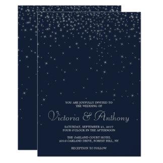 Elegant Navy & Silver Falling Stars Wedding カード